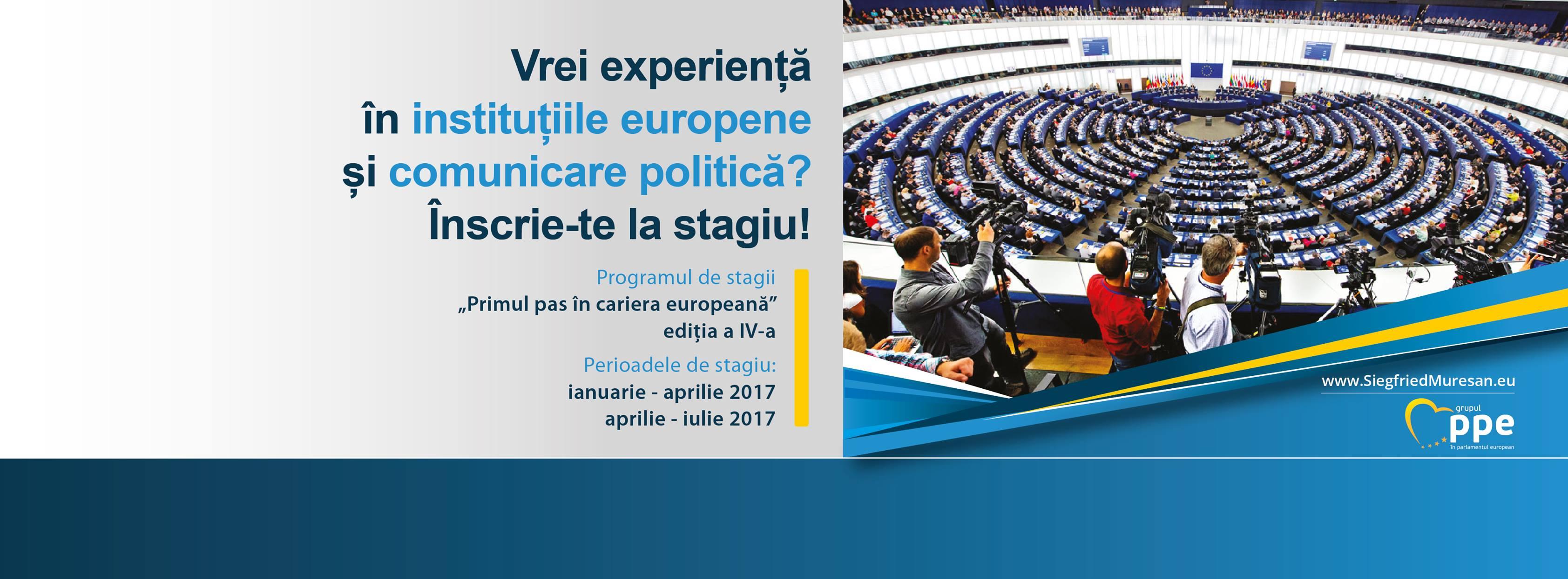 """Înscrie-te la programul de stagii """"Primul pas în cariera europeană"""", organizat de eurodeputatul Siegfried Mureșan"""
